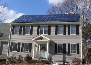 Solar panels on roof of new home